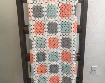Granny Square Crochet Blanket Mint Coral Grey White