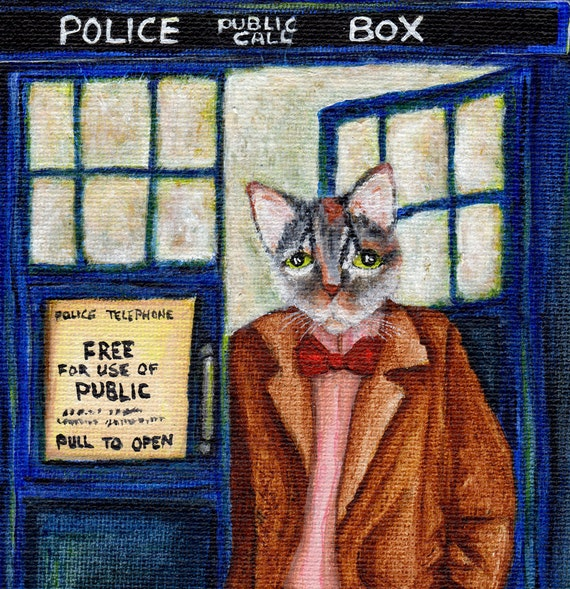 Dr Who Cat 8x10 Fine Art Print