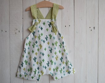 Romper for newborn with cactus fabric, jumpsuit with suspenders, first birthday shorts, overalls, children's clothing summer