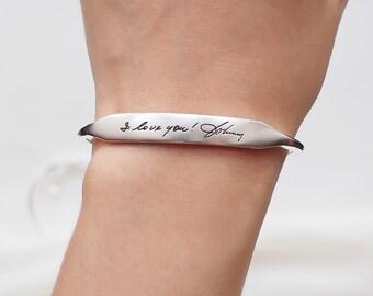 Personalized Custom Cuff Bracelet / Handwriting Cuff Bracelet / Signature Cuff / Open cuff / Memorial Jewelry  HB15