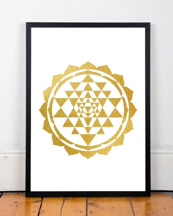 Sri Yantra printable gold foil print gold decor Shree