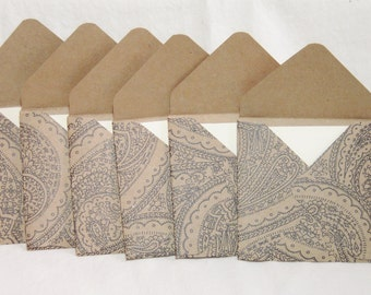 Mini Envelopes with Mini Notecards, Paisley Design, Kraft Paper Envelopes