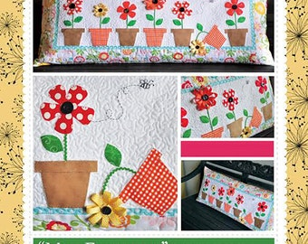Spring Pillow Pattern, May Flowers Bench Pillow KD174 Kimberbell, Spring Decor Pattern, Quilted Pillow Pattern, 16 x 38