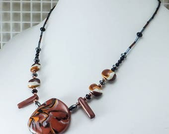 Handcrafted Choker - Copper Black Swirl Necklace No. 180