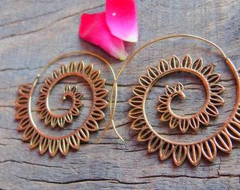 Tribal Brass Earrings. Spiral Earrings. Brass Tribal Earrings. Boho Earrings. Gypsy spiral Earrings. Ethnic Earrings. Festival Jewelry.