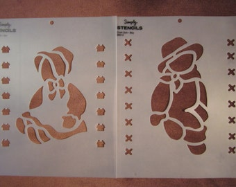 "7"" Boy and Girl cloth doll stencils, folk art"