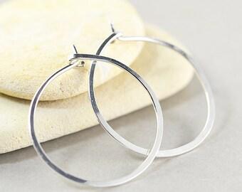 Sterling Silver Hoops, Hoop Earrings, Silver Jewelry, Medium Hoop Earrings