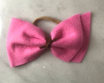 Flamingo Pink Felt Bow