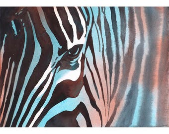 Zebra art.  Zebra artwork.  Zebra painting.  Home decor zebra print watercolor giclee zebra illustration fine art home decor print animal