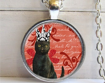 Cat Pendant,  Black Cat Necklace, Cat Jewelry, Kitty With Crown Art Pendant, Gift For Cat Lover