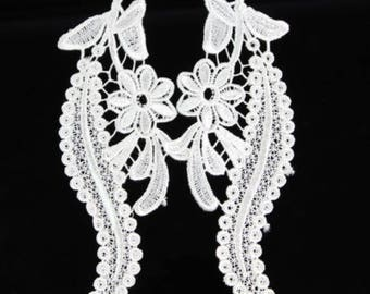 x 1 pair of fine white floral lace AM guipure