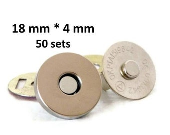 Magnetic Snaps 18mm 50 sets 4mm thick