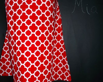 A-line SKIRT - Riley Blake - Quatrefoil - Red and White - Made in ANY Size - Boutique Mia