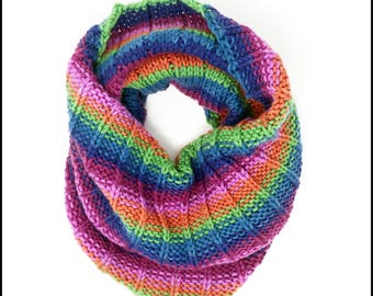 Hand-Knit Jewel Toned Striped Cowl