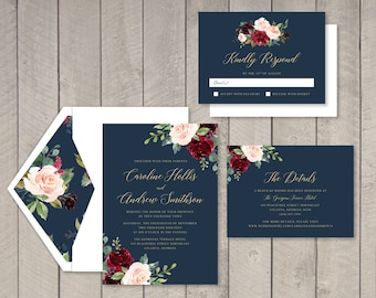 Navy & Burgundy Floral Wedding Invitation, RSVP, Details Card (Printable) by Vintage Sweet