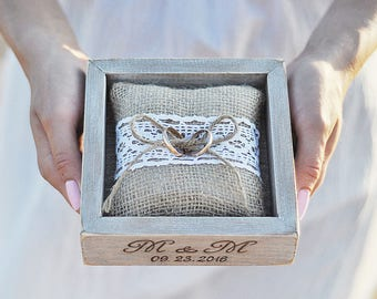 Wedding Ring Box Personalized Ring Bearer Box Alternative Ring Holder Burlap Pillow Rustic Ring Bearer Pillow Cushion Engraved Ring Box Wood