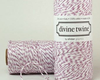 PURPLE Bakers Twine Purple Twine with White Stripes - Cotton 240 Yards Scrap Booking Packaging Gift Wrap
