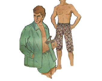 Men's Jacket Swim Trunks Bathing Suit Bermuda Shorts McCall's Groovy 70s Sewing Pattern Chest 34 to 36