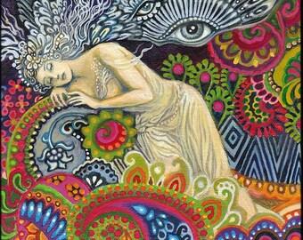Theia Goddess of Sight and Heavenly Light ACEO Mini Altar Art Fine Art Print Pagan Mythology Psychedelic Art Nouveau Gypsy Goddess Art