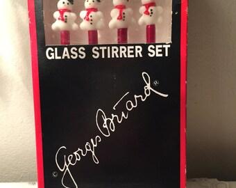 Vintage Georges Briard glass snowman stirrers set of 4