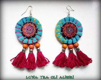 Turquoise felt earrings and red tassels