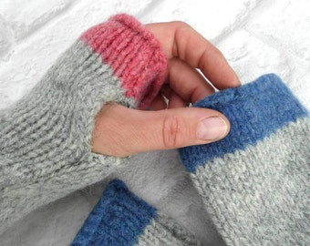 Pink and Grey  Fingerless Gloves, pure wool Made in Scotland