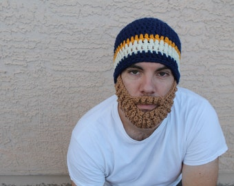 Adult ULTIMATE Bearded Beanie Navy Gold Mix