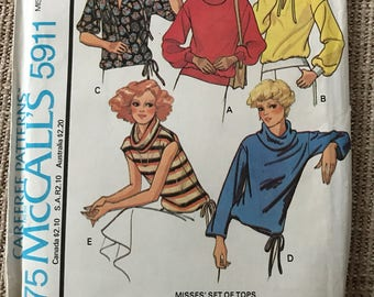 Vintage 1970's Sewing Pattern McCall's 5911 Women's Tops Small