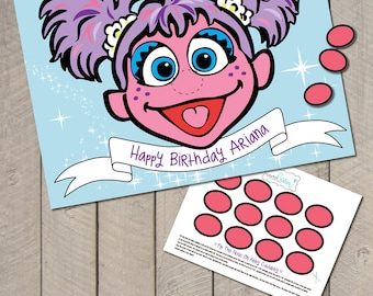 DIY Personalized Sesame Street Pin the Nose on Abby Cadabby Birthday Party Game Printable Poster File by Carta Couture