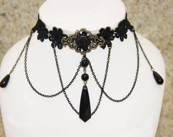 Collar lace black Gothic lolita retro vintage Victorian necklace