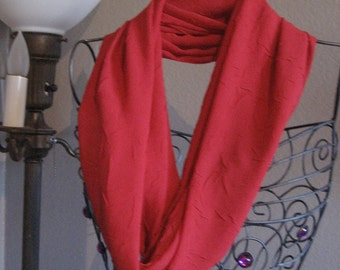 Tango Red Crinkle Infinity Scarf