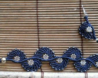 Bracelet and earrings macrame 'Flair' (set)
