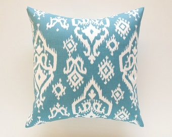 Blue Ikat Throw Pillow Cover. 16 X 16 Inch Decorative Couch Pillow Cover. Regatta Blue and White Ikat