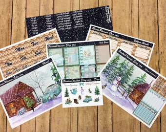 Winter Cabin. FULL-COVER Weekly Planner Kit, Fits Erin Condren Vertical Life Planner, Double Mural Boxes.
