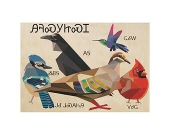 Cherokee Story Birds Large Wooden Print