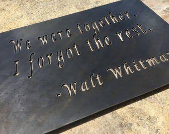 Walt Whitman Quote Metal Art Wall Decor