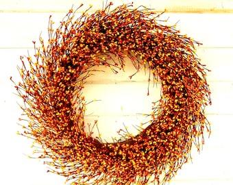 Fall Wreath-Fall Home Decor-Thanksgiving Door Wreath-LARGE Mantel Wreath-Autumn Decor-ORANGE & YELLOW Berry Wreath-Primitive Home Decor-