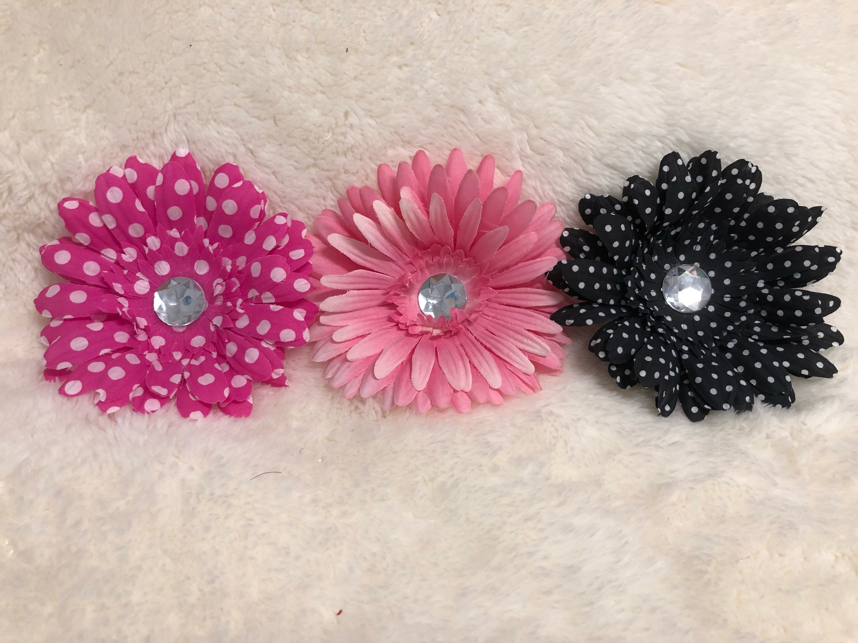 Pink Black And White Flower Hair Clips