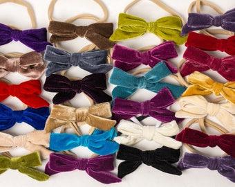 Velvet Hair Bow, baby bows, velvet baby bow, Velvet bows, velvet bow headband, velvet school girl bow, baby velvet headband, baby christmas