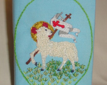 Embroidered Mini Bible Lamb of God Entirely Handmade in Blue inv1838