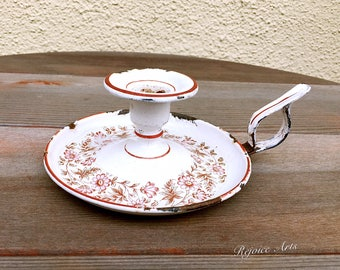 Vintage French Floral Enamel Candle Holder