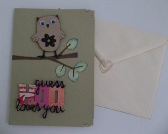 Love card / Anniversary card / Owl / love