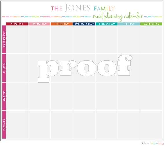 Personalisierte Mahlzeit Planung Kalender zum ausdrucken