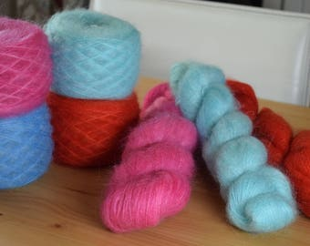 Kid Mohair and Silk Lace Yarn, Hand dyed Yarn, Lace Yarn, Kid Mohair & Silk Yarn