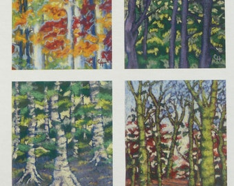 Pastel Tree Series Greeting Cards A6