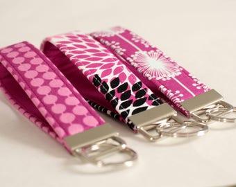 Fuchsia Key Fobs, Fabric Keychain, Pink Purple Key Chain, Fabric Key Strap Purple - PREORDER