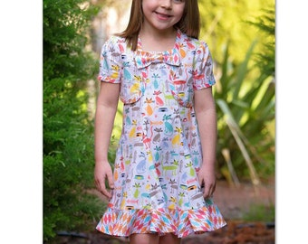 Girl's dress and bolero sewing pattern, The Carousel Sundress & Topper pdf sewing pattern sizes 3 to 10 years.