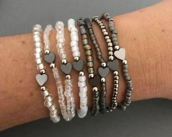 Neutral Heart Small Bracelet Stack, Dainty Bracelet Stack, White & Gray Bracelet Stack, Gifts for Her, Neutral Bracelet Stack
