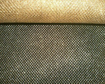 Golden FishNet fabric / gold tulle or chainmail style