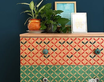 Modern or Scandinavian Design Furniture Stencil for Painting Pattern on Colorful Dresser or Table